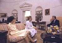 Rosalynn Carter and Jimmy Carter with the Empress of Iran, 07/11/1977
