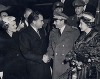 Vice President Nixon shaking hands with the Shah of Iran, 12/13/1954