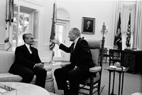 Mohammed Reza Pahlavi and President Lyndon B. 