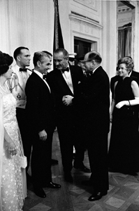 President Lyndon B. Johnson introduces Mohammad Reza Pahlavi to J. Waddy Bullion, 06/11/1968