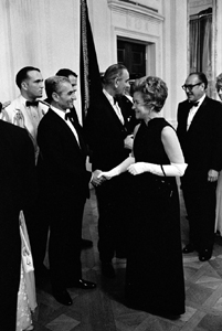 President Lyndon B. Johnson introduces Mohammad Reza Pahlavi to Mrs. Waddy Bullion, 06/11/1968